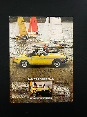1978 Vintage Print Ad 70's MGB Convertible Sports Car Yellow Sailboats Lake