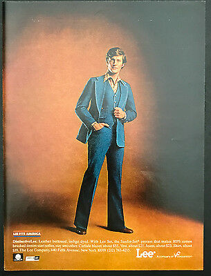 1978 Vintage Print Ad 1970s LEE PANTS Men's Fashion Sytle Blue Jean Suit