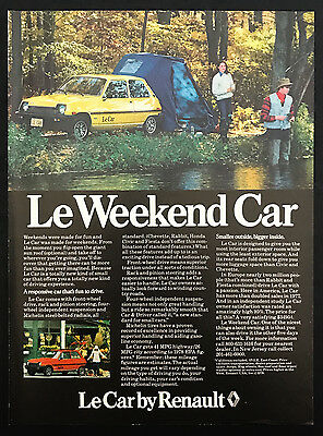 1978 Vintage Print Ad 1970s LeCar RENAULT Automobile Fishing Tent Camping