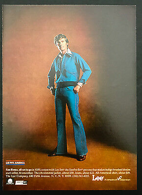 1978 Vintage Print Ad 1970s LEE PANTS Orange Theme Blue Clothes