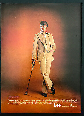 1978 Vintage Print Ad 1970s LEE'S PANTS Men's Fashion Clothes Cane