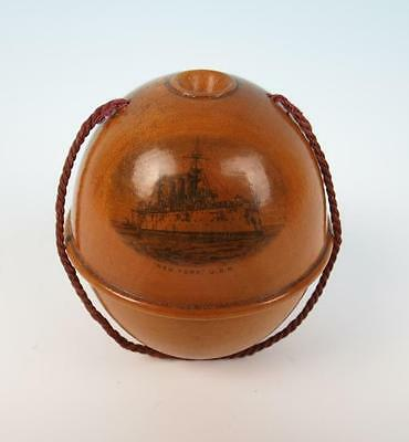 Antique Mauchline Ware New York Navy Ship Crochet Yarn String Holder Box USS USN