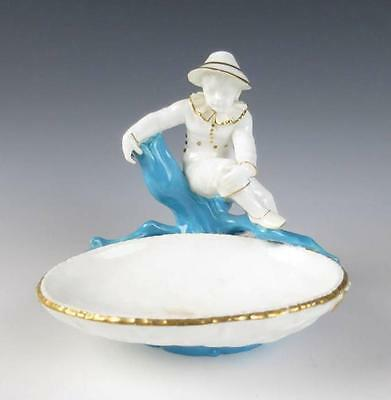 Antique Royal Worcester FIGURAL SWEETMEAT DISH w/ BOY Pottery Porcelain English