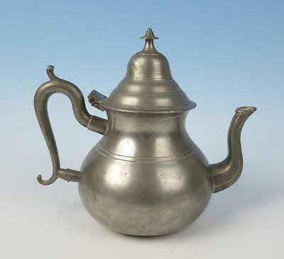 19thC American Pewter Pear Shaped Teapot Samuel Danforth CT or Boardman Antique