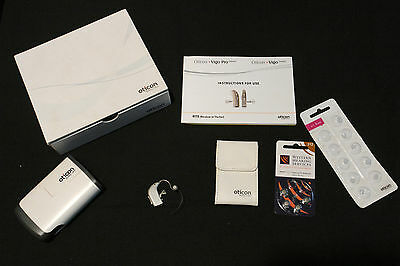 Oticon Vigo Pro Hearing Aid - Left Ear - & Batterys & New In Ear Buds