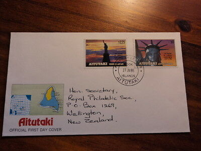 Aitutaki cook islands fdc first day cover 1986 Statue of liberty centennial