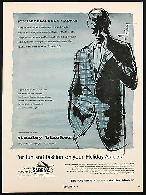 1960 Vintage Print Ad 1960s STANLEY BLACKER Men's Fashion Illustration Blue