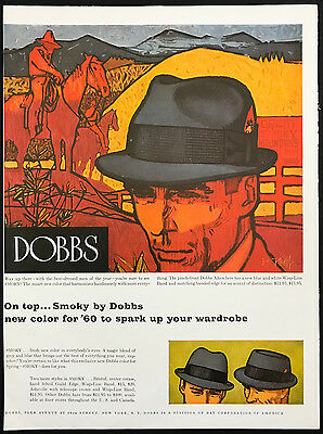 1960 Vintage Print Ad 1960s DOBBS HATS Color Illustration Men's Fashion