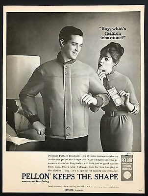 1960 Vintage Print Ad 1960s PELLON Fashion Insurance Men's Style