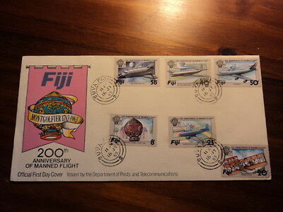 Fiji fdc first day cover 1983 200th anniversary manned flight