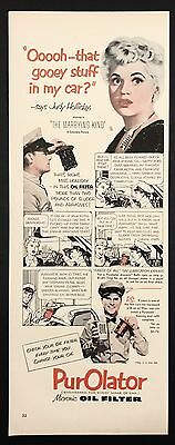 1952 Vintage Print Ad 1950s PUROLATER Oil Filter Judy Holiday Movie Actress