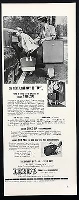 1952 Vintage Print Ad 1950s LEED'S TRAVELWEAR CORP Luggage Travel
