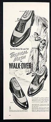 1952 Vintage Print Ad 1950s WALK-OVER Tropical Mesh Foot Fashion Shoes Men's