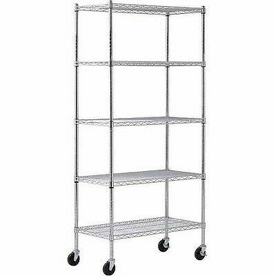 "Muscle Rack 36""W x 72""H x 18""D Chrome 4-Wheeled Wire Commercial Shelving Unit"