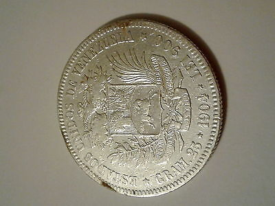 VENEZUELA 1904 Silver coin 5 Bolivares (200,000 mintage only)
