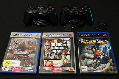 2 X Playstation 2 controllers + mem card + 3 ps2 games - genuine sony controller