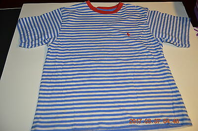 Polo Ralph Lauren Boy Shirt Size 8/10 Short Sleeve Stripe Blue And White Cotton