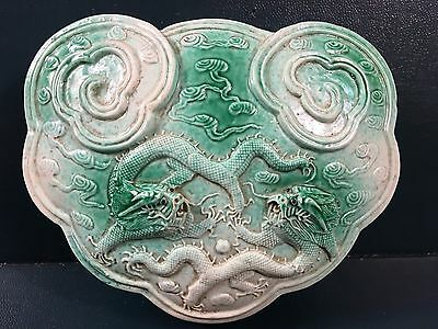 A Carved Ruyi-Shape Robins Egg Blue 'double Dragon' Paper Weight