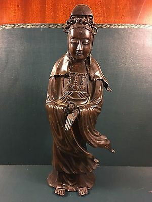 An Antique Japanese? Or Chinese? Bronze Standing 'guanying' Holding A Scroll