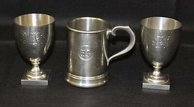 Monogramed Pewter by Shirley Williamsburg,  Tankard, Goblets.