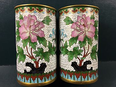 An Old Pair Chinese Cloisonne 'flower' Brush Pot (2)