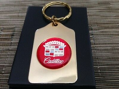 X CADILLAC gold finish VINTAGE metal keychain old style logo NEW OLD STOCK