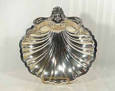 """Silver Plate Footed SHELL SHAPED Serving Dish Beautiful SEAFOOD BOWL 10 3/4 """""""