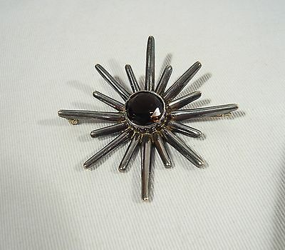 LARGE Miguel Melendez Sterling Silver SUN Brooch Mexico Smokey Quartz Signed