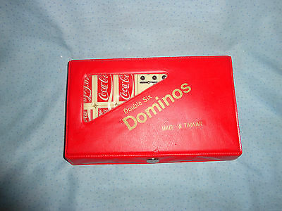 Coca Cola Double Six Spinning Dominoes With Metal Center With Case - Nice