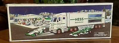 ●HESS●TOY TRUCK AND RACE CARS●c2003●NEW IN BOX●TRUCK AND 2 RACE CARS●
