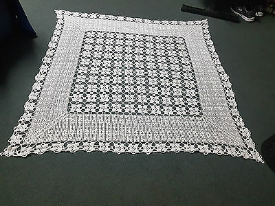Vintage Handmade White Crochet Square Tablecloth - 135cm x 120cm