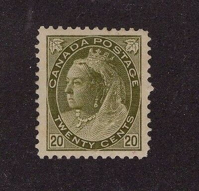 CANADA #84 20c olive green Mint hinged** Queen Victoria Numeral issue 1900