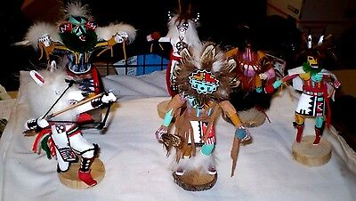 Lot of Six Navajo Made Apache Varied Kachina Dolls, Signed Previously owned