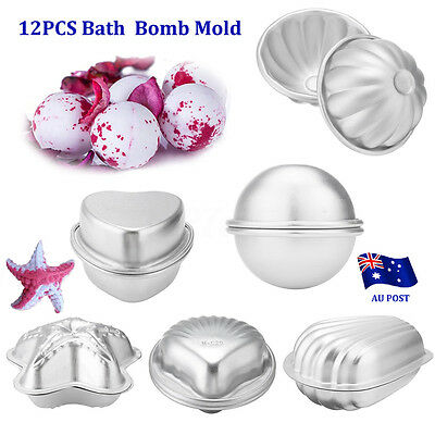 12Pcs  6 Shape Metal Aluminum Bath Bomb Molds Moulds DIY Homemade Crafting  BO