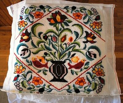 Vintage Finished Needlepoint Smithsonian  Mazaltov Birds Floral Jacobean Style