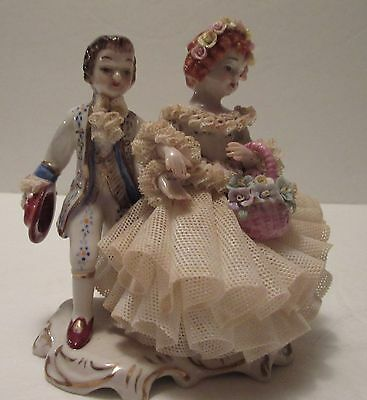 "MZ Irish Dresden Lace Figurine Entitled ""Wedding Children"", Young Boy and Girl"