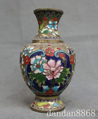 old chinese palace bronze Cloisonne flower lucky statue Zun Cup Bottle Pot Vase