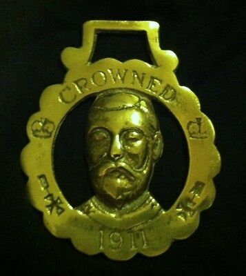 Rare Vintage KING George V Horse Harness Brass crowned in 1911 WOW YOUR WALLS!