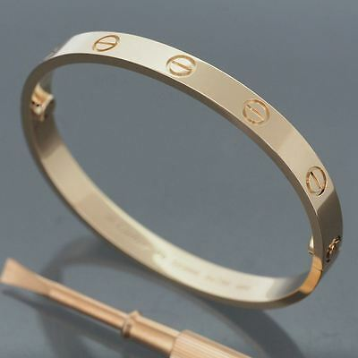 Cartier 18K Rose Gold Gorgeous Love Bracelet Size 16 New Screw System
