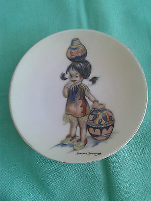 Brownie Downing small wall plate -Indian child with pots