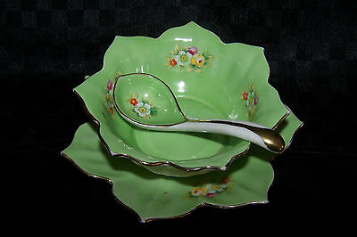 Noritaki sauce bowl, saucer and serving spoon
