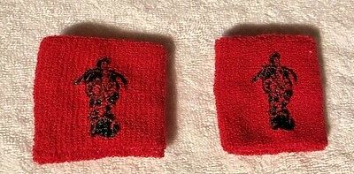 New** Pair(2) Captain Morgan Rum Bartender Wrist Bands, Red With The Captain!