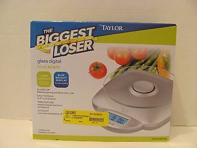 Taylor The Biggest Loser Digital Glass Top Kitchen Food Scale 11 lbs. Capacity