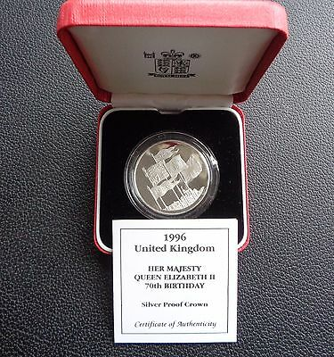 1996 Royal Mint Queen's 70th Birthday Silver Proof Crown £5 coin Box and COA