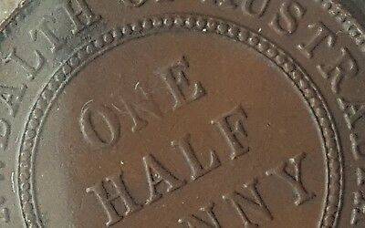 1933 AUSTRALIAN 1/2 HALF PENNY KGV ~ VARIETY ERROR COIN MISSING 'N' In ONE #c10