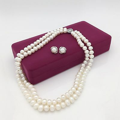 Best selling-Vintage Freshwater White Pearl Gift set Necklace/Earrings/Gift box