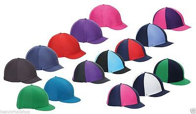 Shires Riding Skull Hat Helmet Cover Silk Peaked Lycra Stretch XC Colours (851)