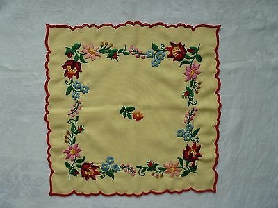 Beautiful Vintage Embroidered Table Cloth Unused from 1950s