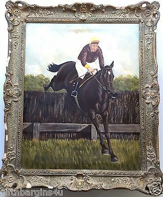 Original Oil Painting National Hunt Steeplechaser Race Horse Jumping Fence 60s