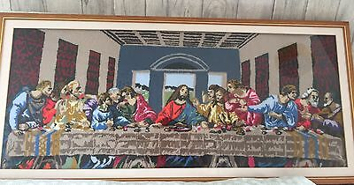 **REDUCED**Religious Wool Picture The Last Supper Spiritual Kitsch Technicolor